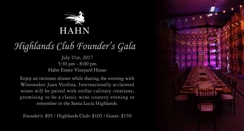 Highlands Club Founder's Gala Hahn Family Wines 2017