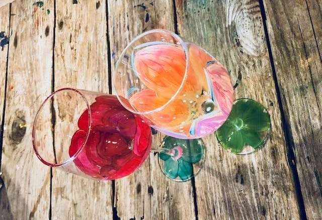 Paint Party Painted Wineglass