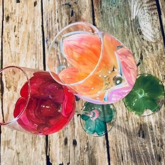 Painted Wine Glasses at The Wine Experience