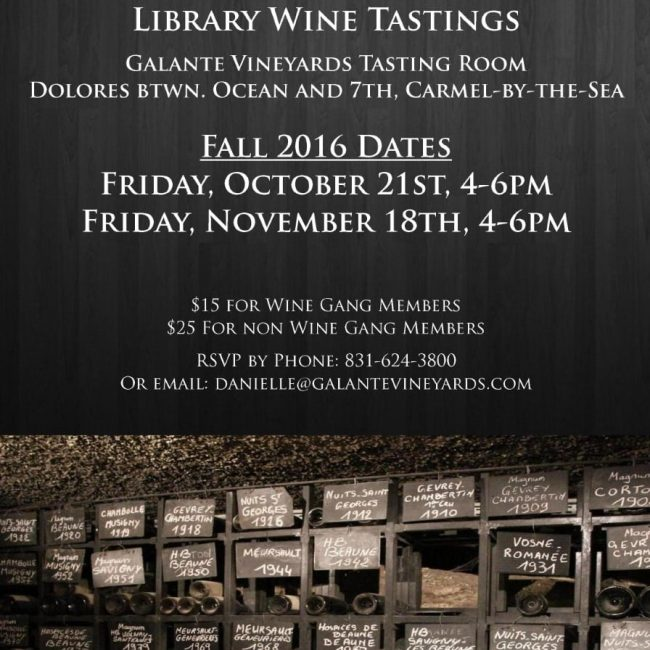 Library Wine Tasting with Galante Vineyards